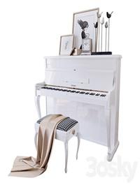 "Piano ""Weinbach"" white, stool and decor (Piano Weinbach white banquet and decor YOU)"